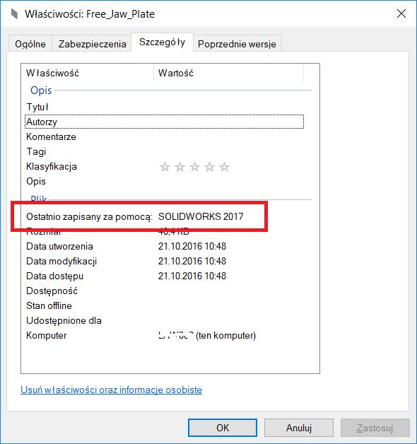 Solidworks - wyświetlanie wersji pliku