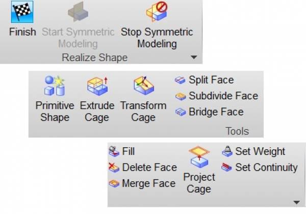 Paski narzędzi Realize Shape