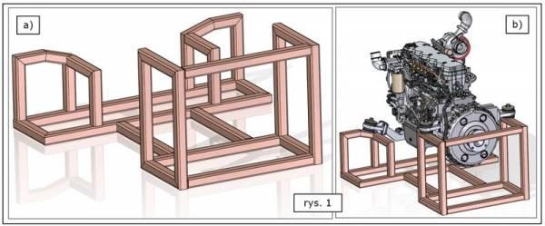 konstrukcja ramowa w modelu stanowiska diagnostycznego silnika SOLID EDGE ST7