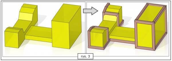Bryły których krawędzie zostały wykorzystane jako ścieżki ramy SOLID EDGE ST7