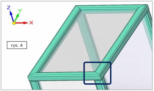 Obróbka naroża ramy - ścięcie ukośne na płaszczyźnie XY - SOLID EDGE ST7