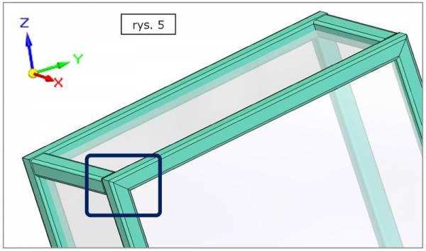 Obróbka naroża ramy - ścięcie ukośne na płaszczyźnie YZ - SOLID EDGE ST7