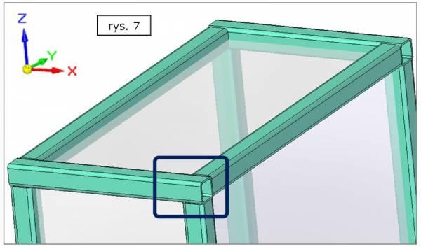Obróbka naroża ramy - doczołowo z dominującym kierunkiem X  - SOLID EDGE ST7