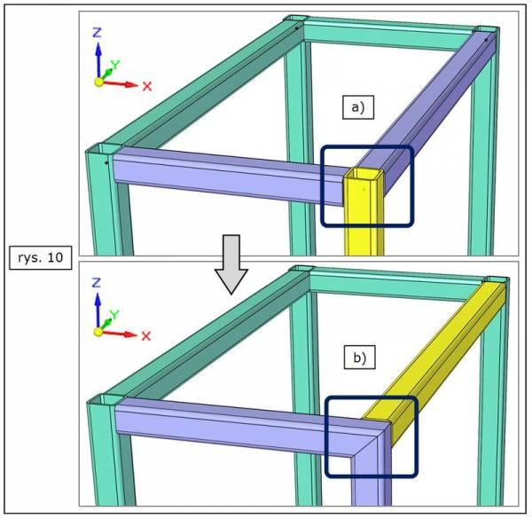 Modyfikacja rodzaju obróbki wybranego naroża ramy w SOLID EDGE ST7