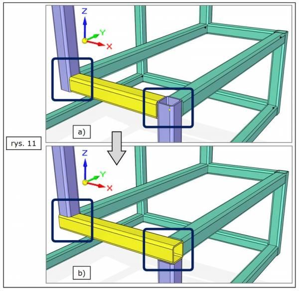 Modyfikacja rodzaju obróbki kilku naroży ramy w SOLID EDGE ST7