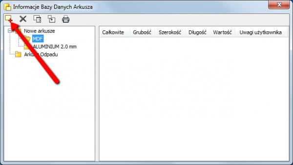 informacje bazy danych arkuza