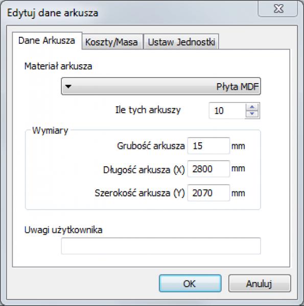 edytuj dane arkusza