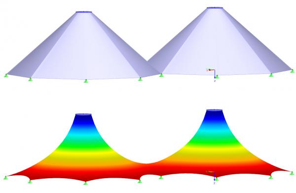 Konstrukcja membranowa przed (na górze) i po (na dole) znajdowaniu kształtu