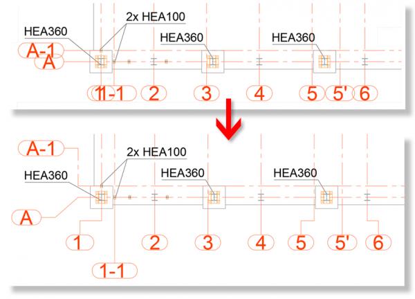 Możliwość dowolnego rozmieszczenia opisów osi siatki budynku.