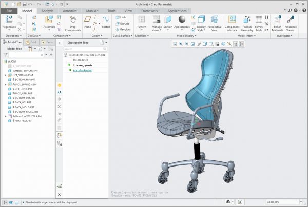 Creo Design Exploration punkt kontrolny w sesji dex