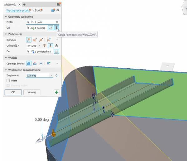 Autodesk Inventor 2 polecenie wyciągnij