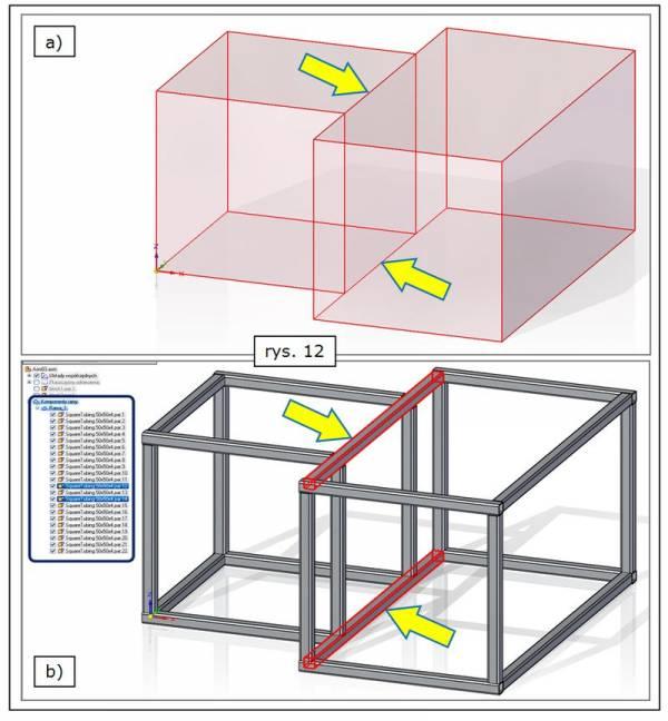 Eliminacja dublowania profili ramy na częściowo pokrywających się ścieżkach