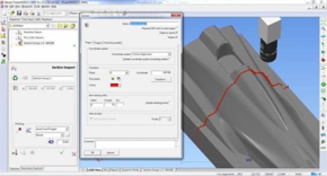 Section measurement is now available in the OMV and CNC versions of PowerINSPECT